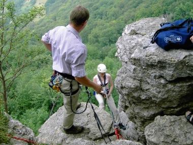 Abseilen am Naturfels